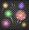 festival fireworks set isolated on transparent vector image