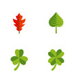 flat icon maple set of hickory frond leaf and vector image vector image