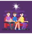 flat style of people watching 3d movie vector image vector image