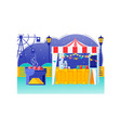 food fair tent with bunting on roat carnival vector image