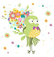 frog toad with a bouquet flowers vector image vector image