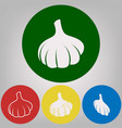 garlic simple sign 4 white styles of icon vector image