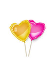 gold and pink heart baloons couple vector image vector image
