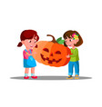 group of children celebrating halloween with vector image