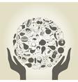 Hand food2 vector image vector image