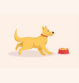 happy cute dog runs to his bowl food hungry vector image