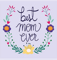happy mothers day best mom ever lettering flowers vector image vector image