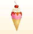 Ice cream cone Strawberry vector image vector image