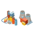 Industrial factory buildings 3d isometric flat vector image