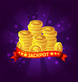 jackpot winner background golden coins treasure vector image vector image