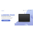 laptop template on landing page website concept vector image vector image
