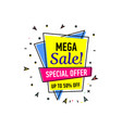mega sale sticker in trendy linear style vector image vector image