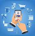 online plumbing service concept vector image vector image
