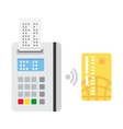 Pos terminal confirms the payment vector image