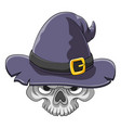 scary head skull using old witcher hat vector image vector image