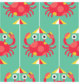 Seamless Crab and Umbrella pattern icon vector image