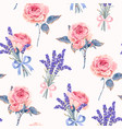 seamless pattern with roses and lavender vector image