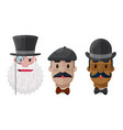 set flat gentlemen in hats and mustaches vector image