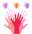 set of colorful up hands silhouette vector image vector image