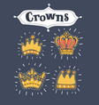 set or collection of golden crowns vector image