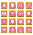shield frames icons pink vector image vector image