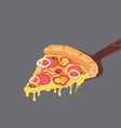 slice of pepperoni pizza with cheese and salami vector image