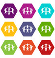 team or friends icon set color hexahedron vector image vector image
