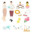 thai traditional couple on songkran festival vector image