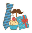 tie moustache gift and muffin vector image