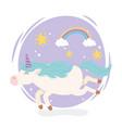 unicorn rainbow stars magical fantasy cartoon cute vector image vector image