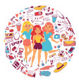 various types clothes and accessories vector image