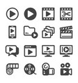video icon set vector image vector image