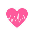white heartbeat with pink heart in flat design vector image