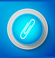 white paper clip icon isolated on blue background vector image vector image