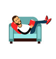 young bearded man lying on a light blue armchair vector image vector image