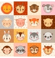 Set of 16 animal faces cow monkey and other vector image
