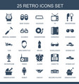 25 retro icons vector image vector image