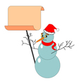 A Christmas snowman with a big blank paper vector image vector image