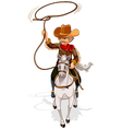 A cowboy riding a horse while holding a rope vector | Price: 1 Credit (USD $1)