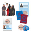 arabic emigrats with approved stamp documents vector image