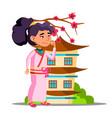 asian girl near sakura and her house vector image