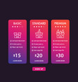 banner for tariffs set pricing table and boxes vector image