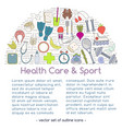 Banner includes icons of healthy food and sport vector image