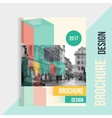 brochure cover template with blured city vector image