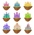 collection colorful island castles on white vector image vector image