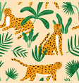 cute exotic hand drawn leopard with tropical plant vector image