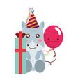 cute hippo gift balloon kawaii birthday vector image vector image