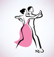Dancing couple outlined sketch