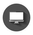 desktop computer flat icon realistic with long vector image vector image