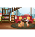 Dogs and living room vector image vector image